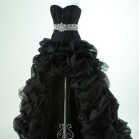 Black prom dress with high low skirt ruffled, Prom dresses, Evening dresses, Evening gowns, maxi dresses
