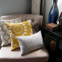 Yellow Taupe and Grey Pillow Covers Decorative by septemberHOME