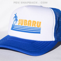 Subaru Vintage Snapback Hat - Auto, tropical, palm tree