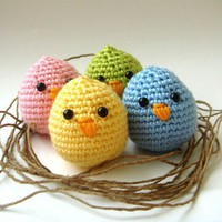 crochet plush baby chicksSet of 4 Christmas Hostess by sabahnur