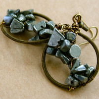Abstract Wire Wrapped Bronze and Pyrite Earrings
