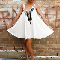 White Dress with Sequin Embellished Front & Cross Back