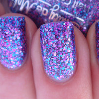 "Nail polish - ""Warrior Princess"" pink, blue and purple glitter in a sheer purple base - new 12ml bottle"