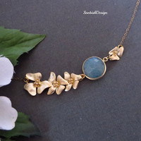 Lotus Necklace, Aquamarine Gemstone Necklace, Statement Necklace, Aquamarine Jewelry, Mothers Necklace, Wedding Jewelry, Bride