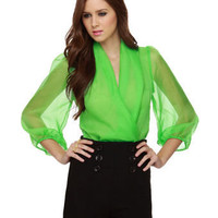 Sexy Green Bodysuit - Lime Bodysuit - Long Sleeve Bodysuit - $40.00