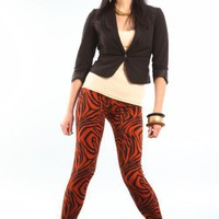 Wild Orange and Black Tiger Animal Print Leggings by KereonLovely