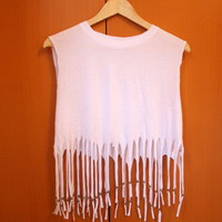 Little Miss Charming  White Beaded Fringe Top