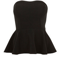 Black Ribbed Peplum Bandeau Top