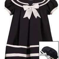 Amazon.com: Rare Editions Baby-Girls Infant Navy Sailor Nautical Pleated Dress Hat 3-Piece set, 24 Months: Clothing
