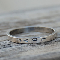 Love or Your Custom Words  Hand Stamped Ring   by lovestrucksoul