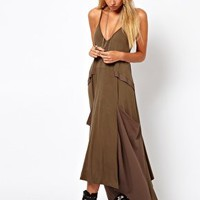 Maxi Dress With Drape Pockets