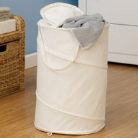 Household Essentials Pop Up Laundry Clothing Hamper with Zippered Top and Handles, Natural Canvas