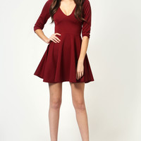 Sacha Long Sleeve V Neck Skater Dress