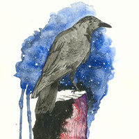 Watercolor-Crow-Print of Original-9x13