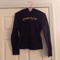DKNY Active Wear Hoodie Long Sleeve Shirt Size Medium Brand New Navy Blue Color