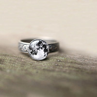 Moon ring  moon jewlery  moon stone  For Her  galaxy by SecretFind