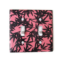 Coral & Black Floral Double Toggle Switchplate, wall decor, switch plate