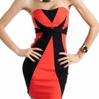 contrast tube dress $27.60 in CORAL TAUPE - Dressy | GoJane.com