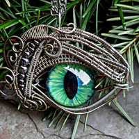 Gothic Steampunk Sable Evil Eye Pendant with by twistedsisterarts