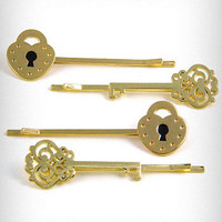 Gilded Keys and Locks Hair Pins | PLASTICLAND