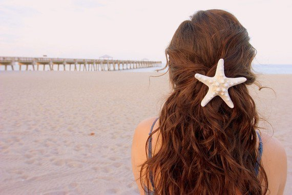 Large White Knobby Starfish Hair Barrette by LandlockedMermaids
