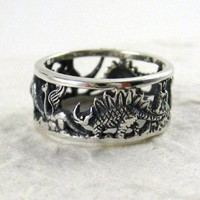 Sterling Silver Dinosaurs Band Ring