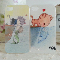 Bestgoods  Cute Cartoon Cat Kiss Fish Love Story Hard Cover Case For Iphone 4/4s/5