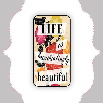 iPhone  Case Beautiful Life Quote iPhone 4/4s Case by CalisCases