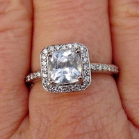 White Sapphire Engagement Ring in 14k White Gold Diamond Halo Setting Cushion Shape September Birthstone Gemstone Jewelry