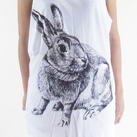 Rabbit Bunny Cute Animal Shirt -- Rabbit Shirt Bunny Shirt Animal Tank Top Women T-Shirt Animal Tunic White Shirt Sleeveless Singlet  Size M