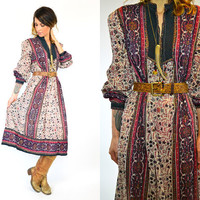floral BOHEMIAN peasant festival 100% cotton GYPSY tent maxi DRESS, extra small-medium