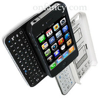 Sliding Black or White Bluetooth Keyboard+Hardshell Case for iPhone 4/4s