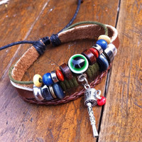 Handmade Eyes Beads Leather Bracelet  accessoryinlove