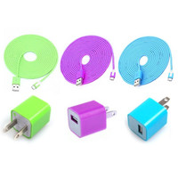 Total 6pcs/lot! USB Cable Cord &amp; USB Power Charger For Iphone 5