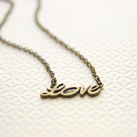 Love Necklace Antique Brass Tone Bridesmaid Gifts Maid of Honor Gifts Valentines Day Gift