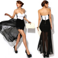 Sexy Women Punk Cut Out Side Rockabilly Swing Chiffon Tail Hem Club Dress S M L