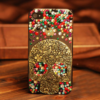 Cool Retro Vintage  Skull Rhinestone Handmade Case For Iphone 4/4s/5