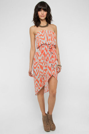 Splashed and Strapless Dress in Orange and Grey :: tobi