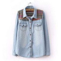 ZigZag Pattern Medium Wash Denim Shirt
