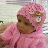 Pink baby/toddler hat Pink textured novelty Easter by JaminaRose