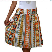Valentine Sale Spring Fashion Skirt / Colorful Tribal Orange Midi Skirt with Sash Belt / Ready to Ship / Last Stock Available