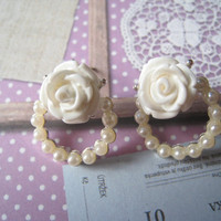 Pretty Rose Earring Studs by Bitsofbling on Etsy