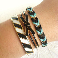 Aqua Mint & Soft Noir Leather - Chevron Braided Modern Friendship Bracelet - Gold Chain