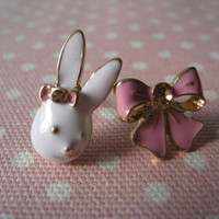 Bunny and Bow Earrings by Bitsofbling on Etsy