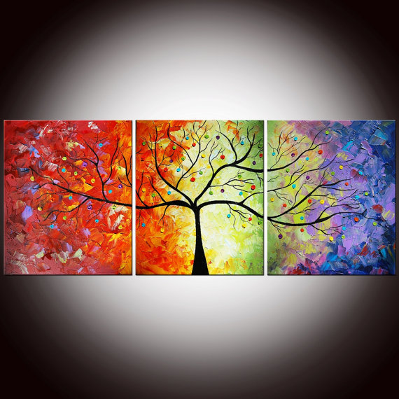 Original Modern Colorful Large Abstract by FlowerArtPainting