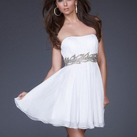Charming Sweetheart A-line Strapless Neckline Mini Chiffon Graduation Dress
