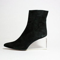 VTG Avant Garde Black Suede Lucite Wedge Ankle by jamesrowlandshop