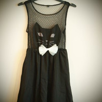 COSMIC RAY clothing  &#x27;CAT&#x27; Face Sleeveless Black Mesh Dress