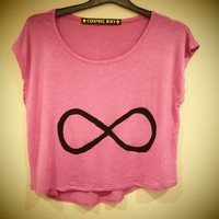 COSMIC RAY clothing — 'INFINITY' Pink Knit Crop T-Shirt