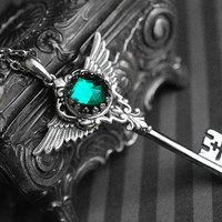 Winged skeleton key necklace - emerald green rhinestone - gothic, victorian, steampunk